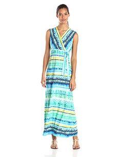 Sandra Darren Women's Printed Wrap Maxi Dress, Mint/Blue/Lime, 10