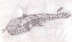 Sketch of a steampunk mechanical whale submarine thing. Space Whale, Portfolio Ideas, Nautilus, Whales, Steam Punk, Civilization, Game Art, Art Ideas, Gothic