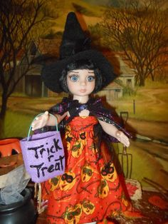 Trick or Treat costume made to fit 10 in. Ann Estelle and friends, Patsy, BJD dolls. On my ebay.