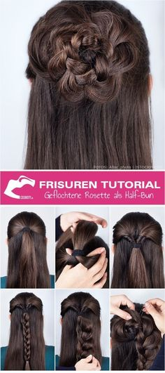 Frisuren Tutorial: Geflochtene Rosette als Half-Bun | Frisuren … – Trend Frisuren | Haarmodelle