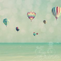 Whimsical Fine Art Photograph, Colorful Hot Air Balloons, Sky and Sea, Teal Tones, Childrens Nursery Art, Surreal Photo, Square 16x16 Print
