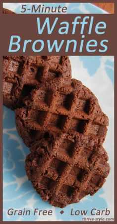 Grain Free Waffle Brownies---in 5 minutes or less! Made with coconut flour, coconut oil, and maple syrup. They're gluten free, grain free, and low carb. These are amazing and they're so healthy, you can eat them for breakfast!