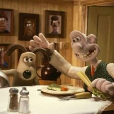Gromit and Wallace (voiced by Peter Sallis) in DreamWorks' new animation, Wallace and Gromit Movie: Curse of the Wererabbit - 2005