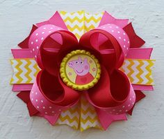 Peppa Pig Inspired Boutique Stacked Hair Bow -Peppa Pig Birthday Hair Bow by DLovelyBOWtique on Etsy https://www.etsy.com/listing/218689705/peppa-pig-inspired-boutique-stacked-hair
