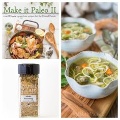 Do you have Make It Paleo 2 and our Adobo Seasoning? You should make our Chicken Zoodle Soup on page 120!! We use the adobo to season the meatballs in the soup and that is one of our favorite ways to season meatballs. So flavorful!  You can find both the spices and the book by clicking the link in our profile!  LINK: http://ift.tt/1F5jydY  #makeitpaleo2 #primalpalatespices