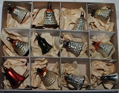 12 little Glass BELLS for CHRISTMAS FEATHER TREE. GERMAN Christmas Ornaments | eBay