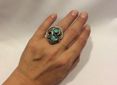 A personal favorite from my Etsy shop https://www.etsy.com/listing/463693706/turquoise-ring-adjustable-ringdecember