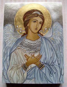 Religious Images, Religious Icons, Religious Art, Byzantine Icons, Byzantine Art, Raphael Angel, Paint Icon, Angels Beauty, Angel Warrior