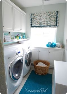 bright carpet, accent window and light walls, great laundry room!