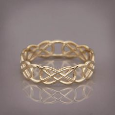 SALE Christmas in July 14K Gold Celtic Knot Wedding Ring