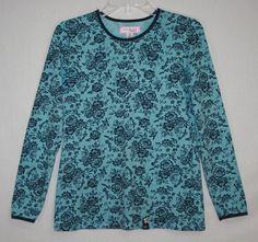 Koi by Kathy Peterson Blue Scrub Top Small Long Sleeve Lace Print 179LAC