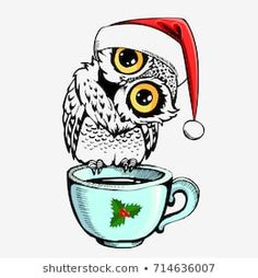 Cute owl bird with Santa Claus cap and cup. Can be used for t-shirt or bags print, fashion print design, greeting and invitation card. Santa Claus Cap, Coffee Cup Tattoo, Cute Owl Cartoon, Christmas Owls, Owl Bird, Printed Bags, Winter Holidays, Royalty Free Images, Invitation Cards