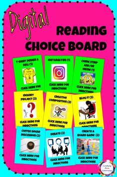 Nine digital choice board reading activities allow you to differentiate and engage students in non-traditional reading response designed to promote inquiry, self-expression, and textual analysis. Reading can be a fun, interactive, student-centered experience that engages every learner! Build writing, reading, speaking and listening, meta-cognitive, and 21st century skills!  Students interact with drag-and-drop pieces to visit hyperlinked directions slides and create their digital choice…