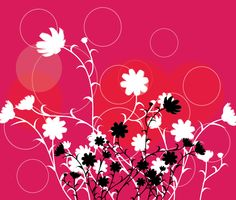 Black Flowers in Red Background Vector Free