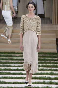 Chanel Spring 2016 Couture Fashion Show - Cris Herrmann (Next)-love the crocheted pearl top!