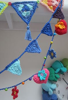 crochet bunting and hearts in Planet Penny rainbow cotton