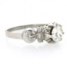 1930s platinum diamond vintage steampunk engagement ring - Steampunk Wedding Rings