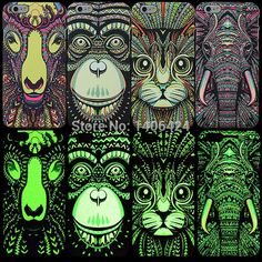 High Quality Fluorescent Noctilucent 3D cute Cartoon Animal world logo Elephant Sheep Cat Phone Case Cover For iPhone 6 4.7inch