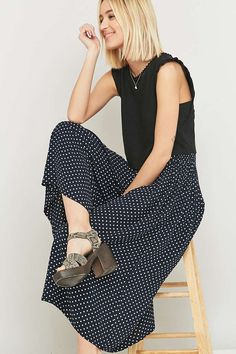 Urban Renewal Vintage Remnants Navy Polka Dot Culotte Trousers - Urban Outfitters