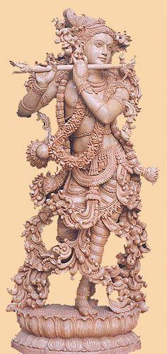 white wood krishan statues 40 inches