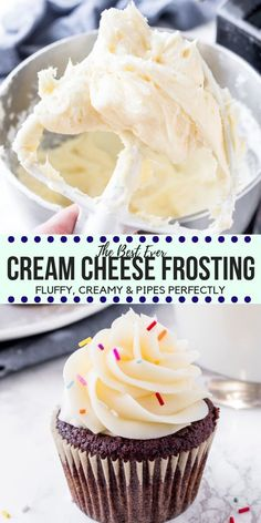 This easy cream cheese frosting is fluffy tangy extra creamy and super smooth. It thick enough to pipe onto cakes and cupcakes and tastes delicious on so many cake flavors - like red velvet carrot banana cake and so much more! Cupcake Recipes, Baking Recipes, Cupcake Cakes, Dessert Recipes, Food Cakes, Gourmet Cupcakes, Cup Cakes, Frost Cupcakes, Mocha Cupcakes