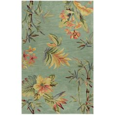 Exotics Tropical Floral and Leaf Wool Area Rugs