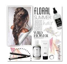 """Floral Summer Hair"" by mejola ❤ liked on Polyvore featuring beauty, Balmain, Anja, Little Barn Apothecary, BaByliss and Alan Hannah"