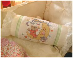 Ruffle Pillow created with a Bucilla baby kit. #crafts #knitting #plaid crafts