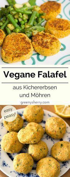 Vegan falafel made from chickpeas and carrots - Greeny Sherry -.- Vegan falafel made from chickpeas and carrots – Greeny Sherry – Vegan recipes & living green vegan food & life - Healthy Vegan Snacks, Healthy Eating, Healthy Recipes, Vegan Food, Veggie Recipes, Vegetarian Recipes, Dinner Recipes, Vegan Chickpea Recipes, Vegan Recetas