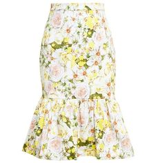 Isolda Frilled Floral Midi Skirt ($315) found on Polyvore featuring skirts, natural, cotton midi skirt, summer skirts, calf length skirts, cotton skirt and white cotton skirt