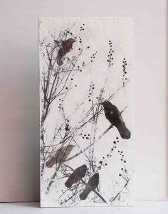 BLACKBIRDS Blackberries Original Encaustic Painting