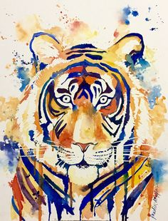 Eye of the Tiger watercolor print by KristinDouglasART on Etsy