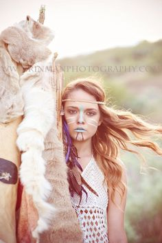 It is not and she is not going to war, except other than perhaps an internal war regarding her identity and why she would choose to stereotype and appropriate. Photography Themes, Fantasy Photography, Girl Photography, Warrior Paint, Native American Beauty, American War, Indian Photoshoot, Tribal Warrior, Cowboys And Indians