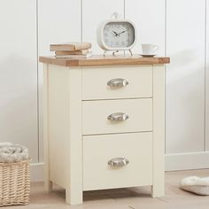 Sandringham Solid Oak Painted Cream/Grey Tall Chest Of Drawers -  - Chest Of Drawers - Mark Harris - Space & Shape - 1