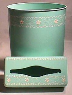 1950s TURQUOISE TOLEWARE Waste Can & Tissue Box Set by FuzzyIzzys, $36.99