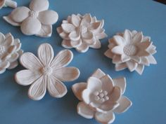 White Flower Bloom Wall Hanging, Your Choice - ceramic wildflower, blackberry, camelia, dogwood, lily and dalia sculptures, flower art. $25.00, via Etsy.