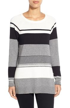 Vince Camuto Engineered Stripe Tunic Sweater