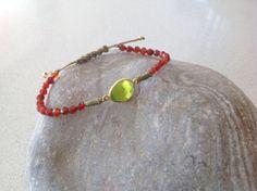 Carnelian beaded macrame bracelet by keepcalmandbeadon on Etsy, £15.00