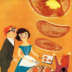 Super-sized '60s Breakfast!  I would like to eat pancakes that large and have a waist that tiny please