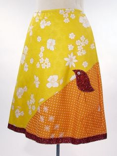 homemade skirts with vintage fabric!