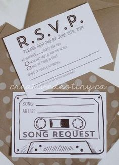 LOVE this idea for a wedding invitation card. Add a Song Request card to send back with your RSVP then the music playlist will be what everyone wants to listen to! by carissa