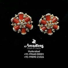 Amarsons Pearls and Jewels. <br> opposite Nanking Restaturant S. Diamond Earrings Indian, Gold Jhumka Earrings, Coral Earrings, Pearl Necklace Designs, Gold Earrings Designs, Gold Designs, Diamond Tops, Diamond Jumkas, Gold Jewelry Simple