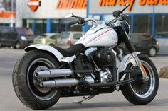 #Harley-Davidson Fat Boy with #Thunderbike rear fender-kit & stretched tank. #motorcycle