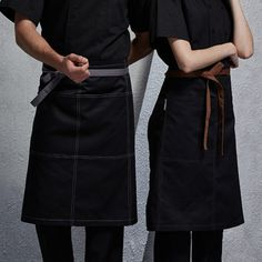 Unisex Black Half Length Apron with Convenient Pockets.  Suitable for Uniforms of Barista,Bartender,Baker,Chef,Waiter/Waitress,Florist or Workwear of Bakery,Cafe,Restaurant,Hotel,Bistro,Bar, etc.