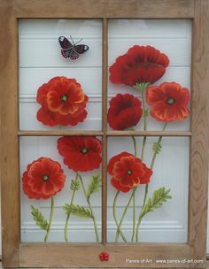 Panes of Art, Hand Painted Window Pane Art, Window Art, Decorative Window Panes, Old Barn Wood Art For Sale Window Pane Crafts, Old Window Art, Painted Window Panes, Window Frame Art, Old Window Projects, Window Ideas, Old Windows, Wood Art, Glass Art