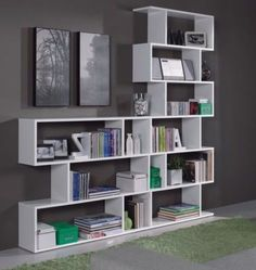 Ciara-Room-Divider-3-or-6-Tier-Bookcase-Ultra-Modern-Display-Unit-White-Gloss