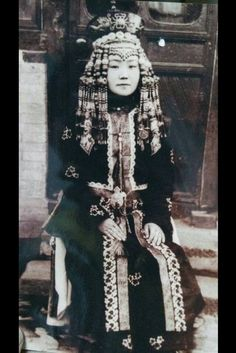 ordos Mongolian woman in traditional costume