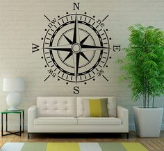 Compass Wall Decal Ocean Navigation Vinyl Stickers Murals Modern Interior Bathroom Great Art Decor (3coo2)