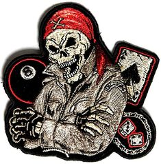 """Embroidered Iron On Patch - Biker Dude Ace of Spades 8 Ball Dice 4"""" Patch Ivamis Trading http://www.amazon.com/dp/B00RT1VH6O/ref=cm_sw_r_pi_dp_SJlRub1YVR065"""
