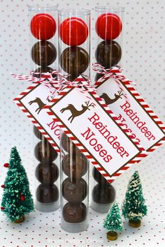 Fun idea! Reindeer Noses, Snowballs and a Little Coal using gumballs--for Little Man's preschool friends? #Christmas